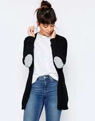 Asos Swing Cardigan With Grey Oval Elbow Patch Black