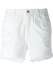 Ermanno Scervino Ripped Slim Fit Denim Shorts White