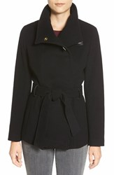 Women's Cole Haan Faux Leather Trim Belted Asymmetrical Coat Black