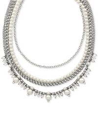 Bcbgeneration Silver Tone Imitation Pearl Chain Collar Necklace