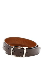 Cole Haan Reversible Leather Croc Embossed And Vegetable Tanned Strap Belt Brown