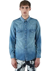 Saint Laurent Oversized Western Denim Shirt Blue
