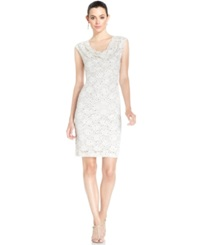 Connected Sequin Lace Cowl Neck Sheath Champagne