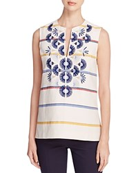 Tory Burch Avery Embroidered Stripe Sleeveless Tunic New Ivory Deck Stripe