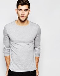 Asos Long Sleeve T Shirt With Crew Neck In Grey Grey