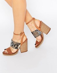 New Look Premium Real Leather Faux Snakeskin Block Heel Stone