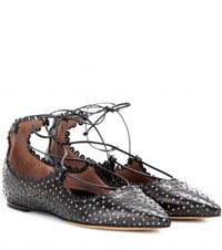 Tabitha Simmons Willa Perforated Leather Ballerinas Black