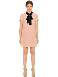 Red Valentino Fluid Crepe Dress W Contrasting Collar