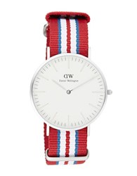Daniel Wellington Classic Exeter Stainless Steel Nato Strap Watch Red