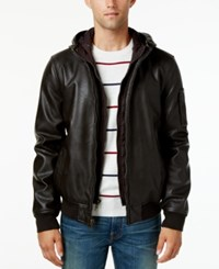 Tommy Hilfiger Big And Tall Men's Hooded Faux Leather Bomber Jacket Medium Brown