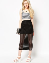 Motel Bobby Midi Skirt In Black Stripe Net
