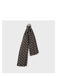 Paul Smith Women's Paisley And Stripe Wool Cashmere Double Sided Scarf Black