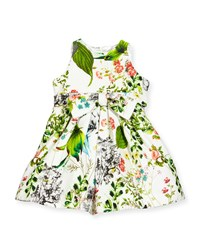 Helena Sleeveless Floral Pique A Line Dress White Multicolor
