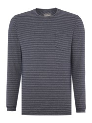 Peter Werth Churchill Stripe Crew Neck Jumper Navy And White