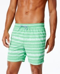 Tommy Hilfiger Men's Coolidge Floral Print Stripe Swim Trunks Kelly Green
