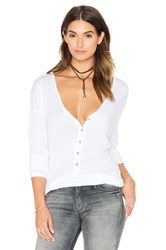 Michael Stars Long Sleeve Raw Edge Henley Top White