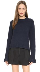 3.1 Phillip Lim Crew Neck Sweater With Fringe Navy