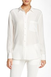Vince Mixed Media Button Down Linen And Silk Blend Blouse White