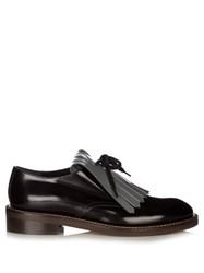 Marni Fringed Leather Lace Up Shoes Black Grey