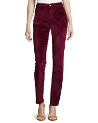 Christopher Blue Velvet Skinny Leg Pants Wine