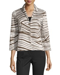 Lafayette 148 New York Bellene Zebra Print Jacket Granite Beige