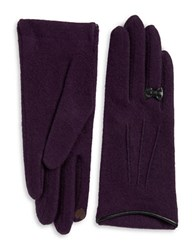 Portolano Leather Bow Accented Wool And Cashmere Blend Touch Gloves Purple