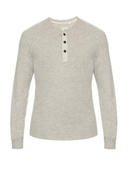 Rag And Bone Long Sleeved Henley T Shirt Light Grey
