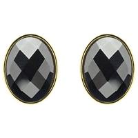 Monet Hematite Oval Stud Earrings Gold
