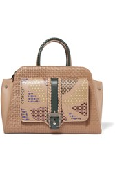 Paula Cademartori Rita Woven Smooth And Laser Cut Leather Tote Brown