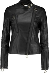 Just Cavalli Paneled Leather Biker Jacket Black