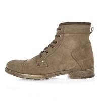 River Island Mens Khaki Suede Worker Boots