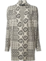 Barbara Bui Open Front Intarsia Cardigan Nude And Neutrals