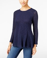 Styleandco. Style Co. Petite Crochet Detail Peplum Top Only At Macy's Industrial Blue