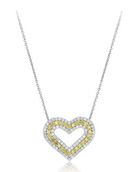Diana M. Jewels 18K Yellow And White Diamond Heart Pendant Necklace Women's