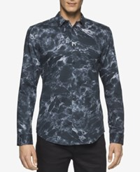 Calvin Klein Men's Slim Fit Marble Shirt Black