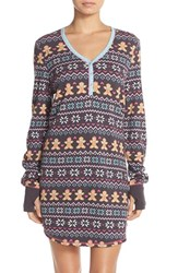 Women's Pj Salvage Thermal Knit Sleep Shirt Charcoal Gingerbread