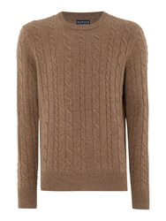 Howick Men's Andover Cable Crew Neck Jumper Caramel