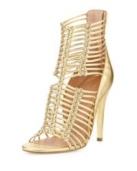 Sigerson Morrison Mella Strappy Leather Cage Sandal Dark Gold