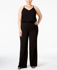 Inc International Concepts Plus Size Blouson Wide Leg Jumpsuit Only At Macy's Deep Black