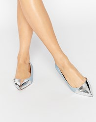 Asos Leapfrog Wide Fit Pointed Ballet Flats Pale Blue Silver Multi