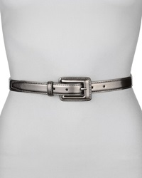 Neiman Marcus Covered Buckle Mirror Belt Pewter