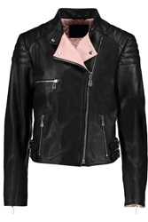 Mcq By Alexander Mcqueen Two Tone Leather Biker Jacket Black