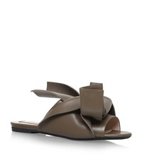 N 21 No. 21 Leather Bow Slipper Shoes Female Khaki