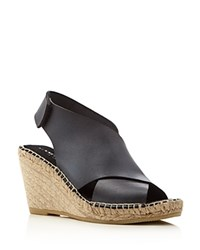 Kenneth Cole Quin Leather Espadrille Wedge Sandals Black