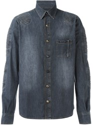 Philipp Plein Ribbed Panel Denim Shirt Grey