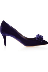 Bruno Magli Halki Bow Embellished Velvet Pumps Blue