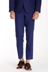 Broletto Flat Front Linen Trouser Blue