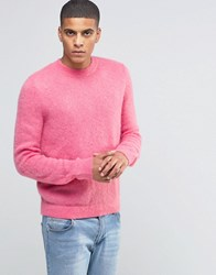 Asos Mohair Mix Crew Neck Jumper In Pink Pink