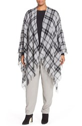 Plus Size Women's Eileen Fisher Plaid Wool And Cashmere Poncho Cardigan
