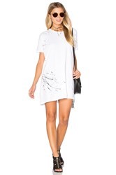 Sundry Texture Jersey Painted Tunic Tee Dress White